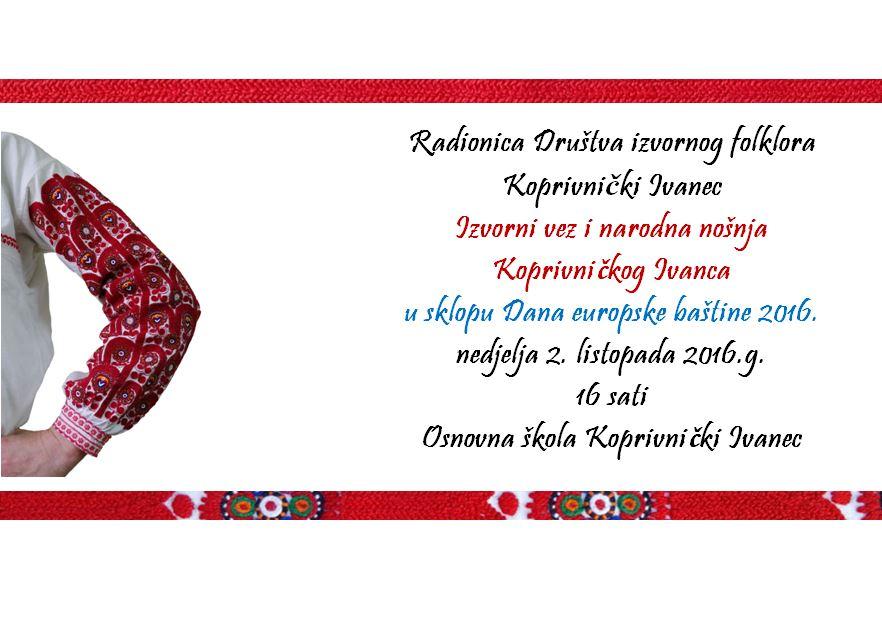 """Radionica DIF-a """"Izvorni vez i narodna nošnja Koprivničkog Ivanca"""""""