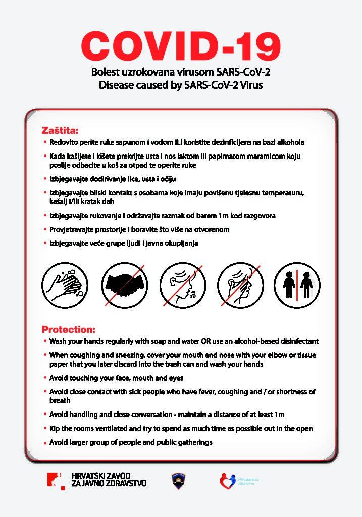 Mjere zaštite od zaraze COVID-19+ s ciljem informiranja javnosti i sprječavanja širenja bolesti