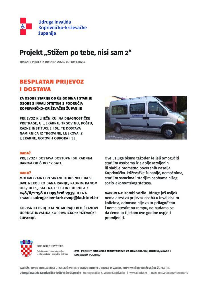 """Projekt """"Stižem po tebe, nisi sam 2"""" Udruge invalida Koprivničko – križevačke županije"""