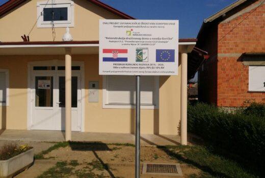 Rekonstrukcija društvenog doma u naselju Goričko