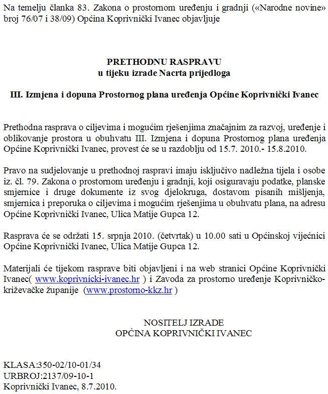 III. Izmjena i dopuna Prostornog plana uređenja Općine Koprivnički Ivanec
